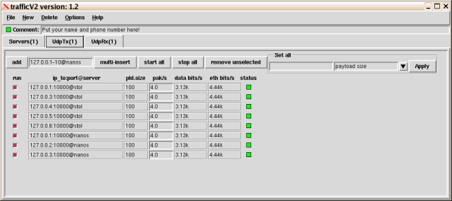 Screenshot: UDP transmiters